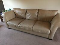 Cream Leather 3 Seater Sofa and 2 1 Seater Chairs