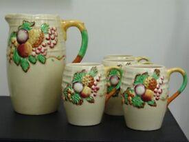 Royal Staffordshire Fruit Bowl Design Jug and 4 cups