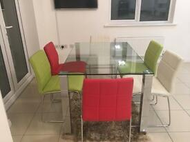 Dining Set (Grass top table + 6 chairs)
