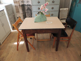 Vintage industrial style dining table with 4 chairs