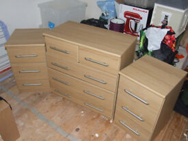 Bedroom Chest of Drawers and two matching bedside cabinets