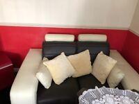 Brown n cream faux leather sofa