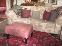 FABB VERY BEAUTIFUL GRAND SOFA & CANDY ROSE FOOTSTOOL