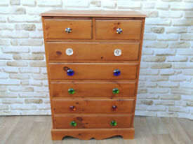 5+2 Multi Handle Chest of Drawers Pine (Delivery)