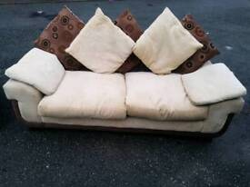 3 & 1 Seater brown suede cream fabric sofa good condition no rips or tears