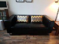 Ikea Kilppan Black Leather 3 seat Sofa