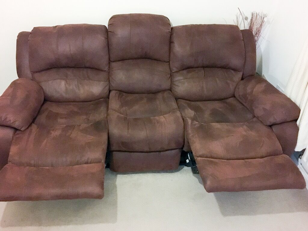 Harvey S Winchester 3 Seat Recliner Faux Leather Sofa