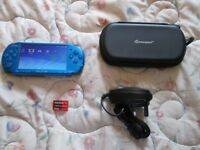 BLUE PSP 3003 HANDHELD + CHARGER + CASE