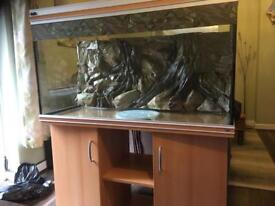 4' Fishtank with Cabinet & 3D background