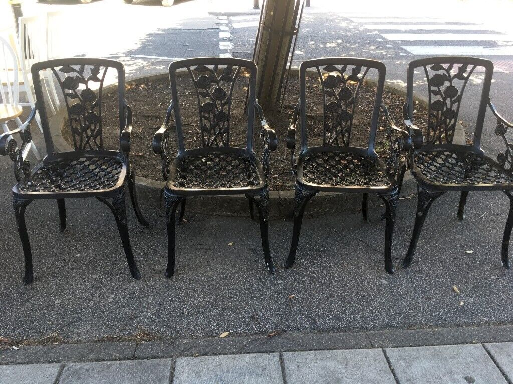 4 Lovely Aluminum Garden Chairs With Arms Need Touch Up N The Paint Collection From Ip3 Or Can Del