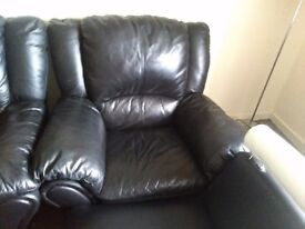 Large black 3 seater recliner & arm chair