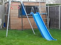 TP Metal Swing and Slide Set with Fireman Pole incs swing seat and monkey bar attachments