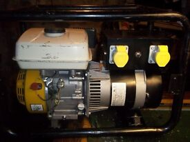 3.5kva 4 STROKE PETROL GENERATOR WITH LOW OIL AUTOMATIC SHUTDOWN, LIKE NEW, VERY LOW HOURS