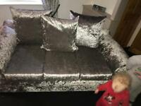 2&3 crushed velvet sofa 1 week old literally