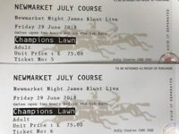 2 VIP tickets for James Blunt concert at Newmarket Racecourse on Friday 29 June 2018