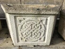 Stone Garden Pots With Celtic Pattern