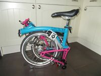 Brompton Bike M3L Almost New Artic Blue / Pink