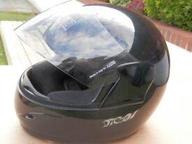 full face motorbike helmet and gloves