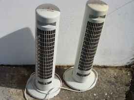 2 electric osillating cool air fans