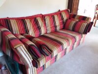 2 SEATER & 3 SEATER STRIPED, PLUSH FEATHER SOFAS - GOOD QUALITY AND GOOD CONDITION