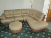 Used, two tone brown leather settee sofa