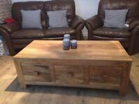 Light Mango wood coffee Table/Tv unit.