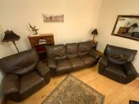 3 piece Brown leather recliner suite