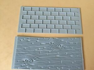 Wall Brick  Wood Grain mould cake mat embosser, 2pc mold to use with Sugar-paste