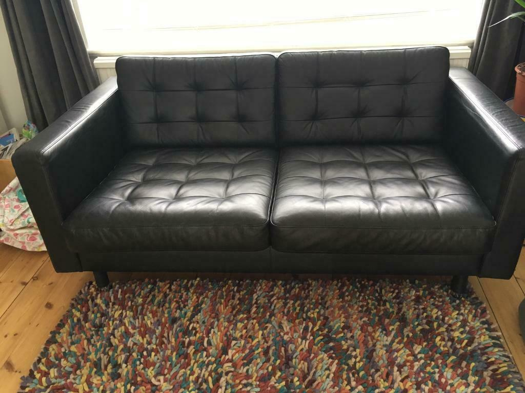 Black leather 2 seater sofa Ikea Landskrona Good Condition | in Pinner,  London | Gumtree