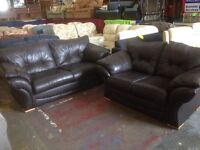 Real brown leather 3 and 2 seater sofas