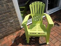 green plastic garden chair like new