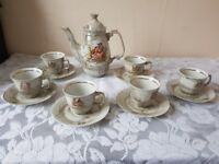 beautiful 1980s 13 piece porcelain coffee set with jug £15