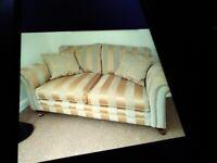Cream and Gold Stripe Cushion Sofa