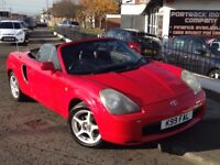 2000 TOYOYA MR2 1.8 VVTI ROADSTER 2DR WOW BRIGHT RED FULL BLACK LEATHER AMAZING DRIVING CAR VERY FUN