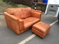 Leather sofa + foot stool (free drop off)