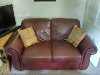 Pair of brown BHS 2-seater leather sofas near Market Rasen, Lincolnshire, buyer to collect.