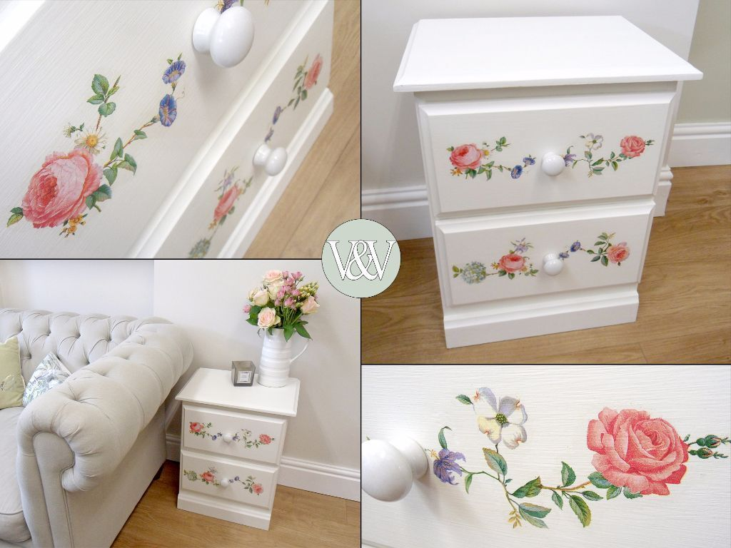 Bedside Drawers Side Table Solid Wood Painted And Decoupage Shabby Chic In Bridgend Gumtree