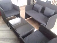 2 SEATER & 2 CHAIRS + TABLE