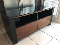 Designer Glass Topped TV Stand and Storage Cabinet