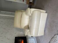 Two seater reclining sofa and reclining chair cream