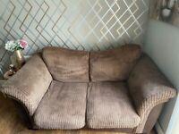2x brown fabric 2seater sofa & footstool