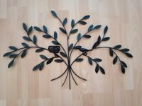 Wall Art Tree Style with bird and nest in Grey Metal