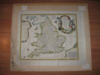 Antique Hand Coloured Map of England & South Britain by Emmanuel Bowen C.1750