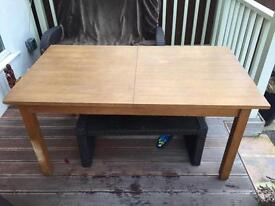 Next Solid Oak and Oak Veneer Extending Dining Table with 6 Brown Leather Chairs