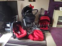 Red Oyster Plush Pram & Maxi Cosi Pebble Car Seat 3 in 1 Buggy