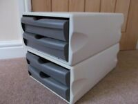 Pair of two drawer stationery pods A4 size drawers ideal for home office