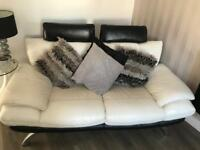 White dfs leather sofa