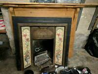 Pine mantlepiece and cast iron fire surround