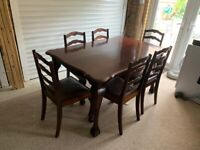 Antique Polished Hardwood Dining Table + Six Chairs