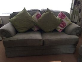 Sofa set (soft green) comprising of used, in very good quality 2 two seaters & 1 arm chair